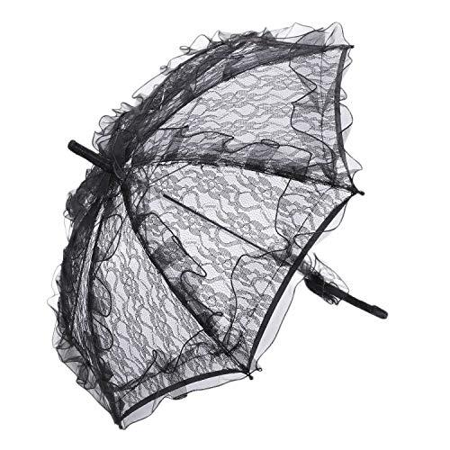 wivarra Lace Sombrilla Boda Flor de Encaje Boda Novia Parasol Paraguas Negro