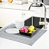 Roll Up Dish Drying Rack, Ohuhu Large Dish Drying Rack, 17.6' L X 15.4' W, Dish Rack Over Sink, Collapsible Multipurpose Silicone Coated Stainless Steel Dish Drainer Mat, Dish Drainer Tray, Grey