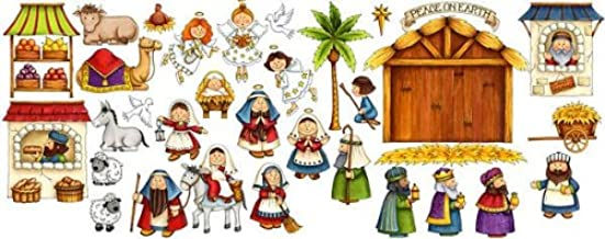Nativity Scene Felt Figures for Flannel Board Stories Birth of Jesus Christmas- Precut & Ready to Use