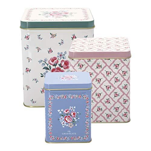 GreenGate Square Box Nicoline White Set of 3pcs