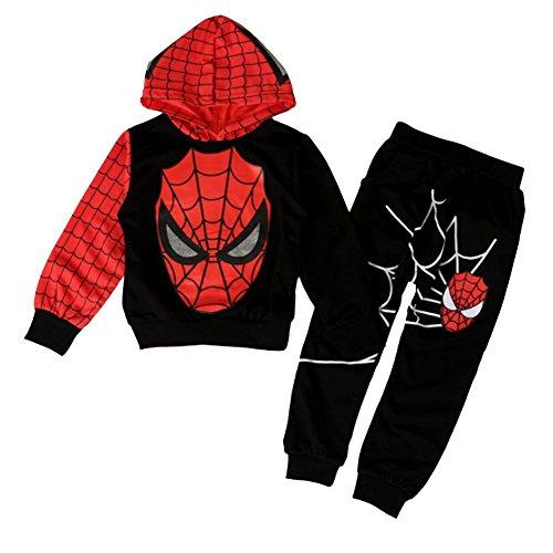 iikids Bekleidungsset 2 pcs Sweatshirt + Hose Spiderman Kostüm Kinder Kapuzenpullover Kinderanzug Jungen Babyanzug Junge Anzug Kinder Kleikind, Schwarz,122/128(Etikette 130)