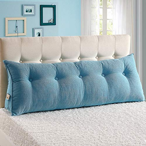 YYEWA Large Bolster Headboard Backrest Triangular Wedge Pillow Cushion Upholstered Headboard Bed Back Support for Reading Relaxing,Light Blue,XXL