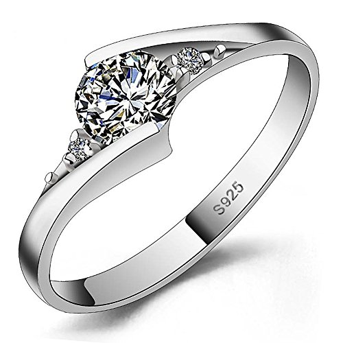 Meyiert 925 Sterling Silver Brilliant Round Cut Zirconia Eternity Promise Engagement Wedding Rings (L)