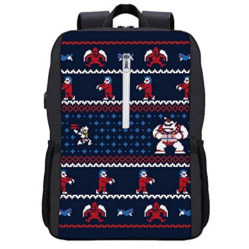 Ghosts N Goblins N Weihnachtsgeschenke Strickmuster Ghouls Rucksack Tagesrucksack Büchertasche Laptop Schultasche mit USB-Ladeanschluss