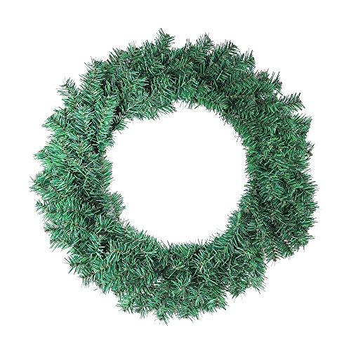 HENGMEI Ø50cm PVC Weihnachtskranz für tür deko außen 150 Spitzen - Weihnachtsdeko Türkranz Weihnachten Garland (Grün PVC, Ø50cm)