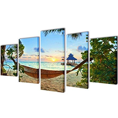 Canvasdoeken zandstrand met hangmat 200 x 100 cm