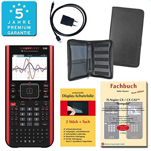 TI-Nspire CX II-T CAS PREMIUMpaket + Erweiterte Garantie + Schutztasche + Fachbuch + Displayschutzfolie + Ladegerät : calcumio Artikel Set