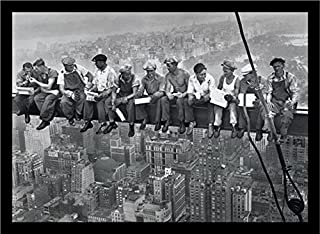 Buyartforless If If PA PP0020 36x24 2 Black Plexi Framed Men On Steele Beam Lunchtime ATOP NYC by John C Ebbets Photographic Art Print Poster Wall Decor, 36