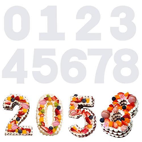 SAVITA 9 Stück 31cm 0-8 Anzahl Kuchen Schablonen, Kunststoff Flache Vorlagen Anzahl Form Kuchen Schneideschablonen für DIY Weihnachten Hochzeit Geburtstag Jubiläum Kuchen Cookie