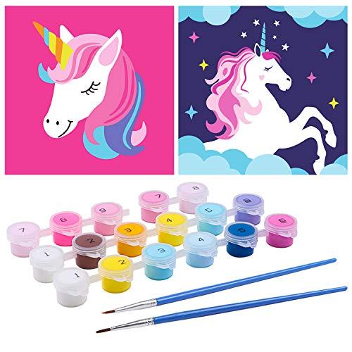 Lorfancy 2 Pcs Kids Paint by Numbers DIY Oil Painting Boys Girls Unicorn Beginner Colorful Animal Pattern 8'x8' (Unicorn)