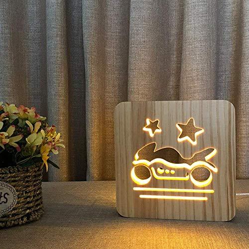 Lievevt Lámpara Escritorio Madera Luminosa de Dibujos Animados Motocicleta 3D Hueco USB decoración Creativa lámpara de Mesa LED Dormitorio habitación de los ni?os Cumplea 19 * 19 cm escri
