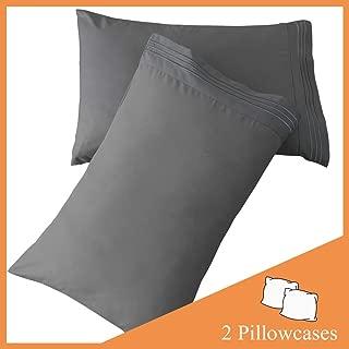 SONORO KATE Luxury Pillowcase Set Brushed Microfiber 1800 Bedding - Wrinkle, Fade, Stain Resistant - Hypoallergenic (Dark Grey, 2 Pillowcases Standard)