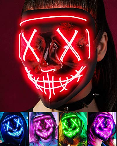 Scary Halloween Mask, LED Light up Mask Cosplay, Glowing in The Dark Mask Costume 3 Lighting Modes, Halloween Face Masks for Men Women Kids - Red