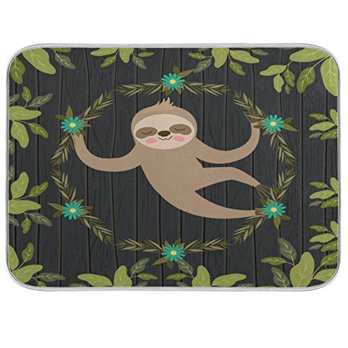 Oarencol Sloth Flower Wreath Dish Drying Mat Cute Animal Green Leaves Wood Large 18 x 24 Inch Reversible Drying Mat for Kitchen Counter
