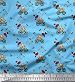 Soimoi Blau Baumwoll-Popeline Stoff Fahrrad, Herzballon und