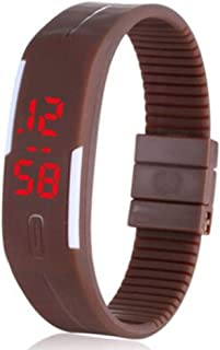 Genius Unisex Digital LED Dial Silicone Band Watch - Brown