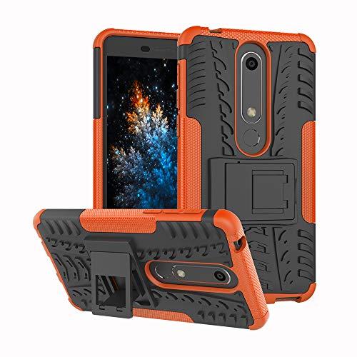 MRSTER Nokia 6.1 Coque - Etui Housse Robuste Protection de Double Couche d'Armure Lourde Antichoc Housse avec Béquille pour Nokia 6.1 (2018). Hyun Orange