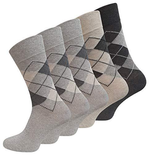 VCA 10 Paar Herren Baumwoll Socken COMFORT Herrensocken verschiedene Modelle (43-46, Karo Hell Sortiert (2004))