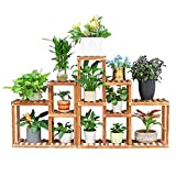 unho Corner Wooden Plant Stand Holder Assorted Display Shelf Rack with 10 Tiered Shelves for Flowers Planters Garden Patio Balcony Living Room