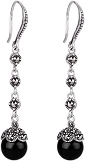 Antique Thai Silver Jewelry Sterling Silver Red Cubic Zirconia Marcasite Drop Dangle Hoop Earring