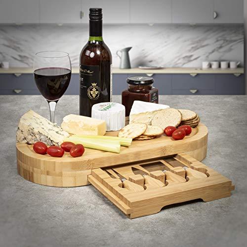 Woodluv - Juego de tablas de queso de madera ovalada/pequeña redonda/cuadrada/rectangular, con cajón integrado y 3 cuchillos para queso, madera bambú, natural, Oval(41 x 21 x 5 cm)