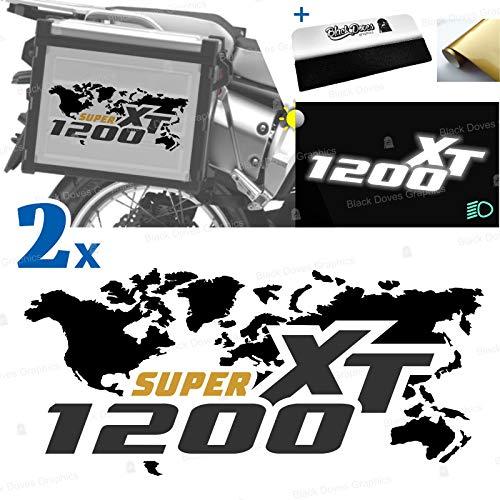 2 adhesivos compatibles con maletas laterales para XT 1200 Z Super Tenere para maletas originales y Touratech All y Givi Trekker Outback (negro-negro)