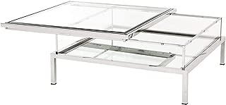 Square Sliding TOP Coffee Table | EICHHOLTZ Harvey | Modern Contemporary Elegant Silver Sliding Glass top Center Table
