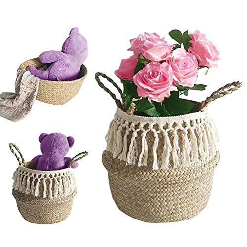 Funnyfeng macramé, lang, met gevlochten pompons, voor het bewaren, decoratie, wassen, picknick, afdekking voor planten, specerijen en het bewaren van speelgoed
