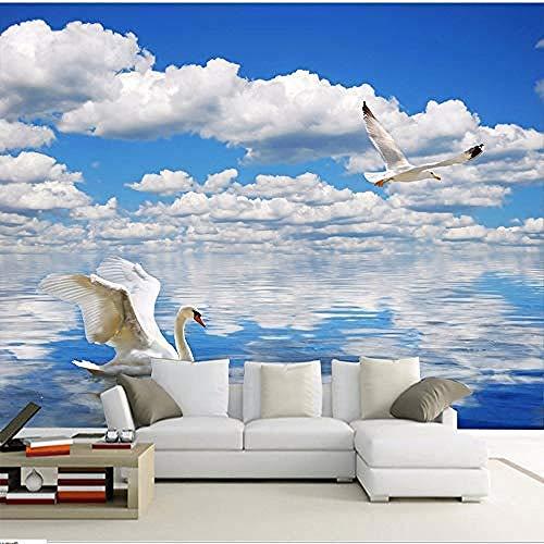 Fotobehang, muurstickers, 3D, fotobehang, Hd Schwan, meubel, hemelsblauw en witte wolken, zee, sofa, tv, achtergrond, muur, zelfklevend, behang, papierbehang, windbescherming, 3D _400cm(w)x250cm(h)(13'1
