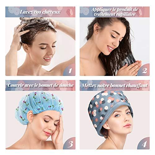 Casques Chauffant Cheveux, Luckyfine, Bonnet Chauffant Électrique, Casque Soin Cheveux, Traitement Thermique pour Soins Capillaires, Bonnet Chauffant Cheveux, Température de 2 Modes Disponible Blue