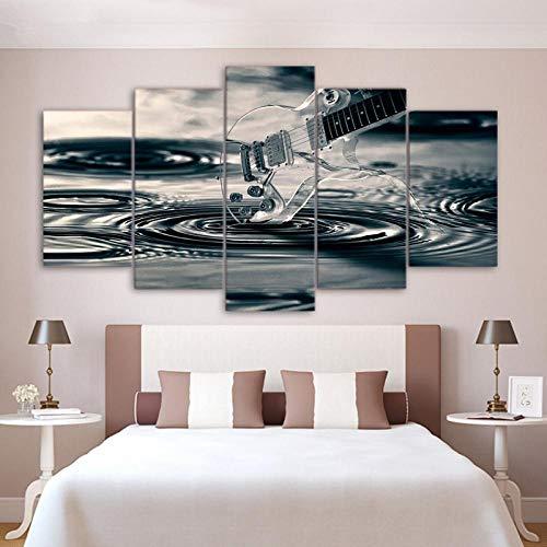 WGBHQ 150X100CM Vijf Schilderij Foto's Muur Kunst 5 Panel Elektrische Gitaar Schilderijen Vintage Muziek Instrument Posters Home Decor Woonkamer Canvas Print Foto's Artwork 5 Stuks Modulair Creatief A2