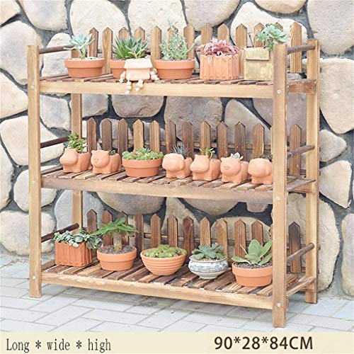 GWFVA Afwerkingspot voor bloempotten. Bloemstandaard decoratie van massief hout schelpen meerdere lagen balkon deur balkon woonkamer bloempot houder natuurlijke herder planten in pot (kleur # 4)