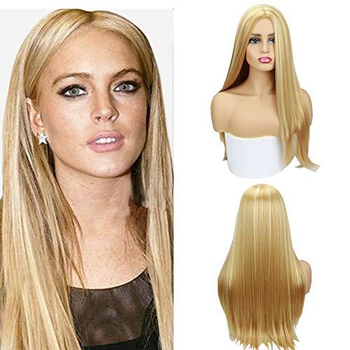 Eseewigs # 27 / # 613 Parrucca color miele bionda per pianoforte Parrucca sintetica per capelli lunghi lisci Parrucca per la parte centrale con densità del 130% per le donne 22 pollici