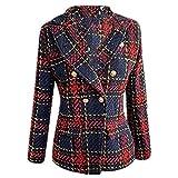 NOBRAND - Chaqueta de cuadros con cuello con muescas de doble botonadura para mujer, elegante chaqueta de oficina Rojo rosso S
