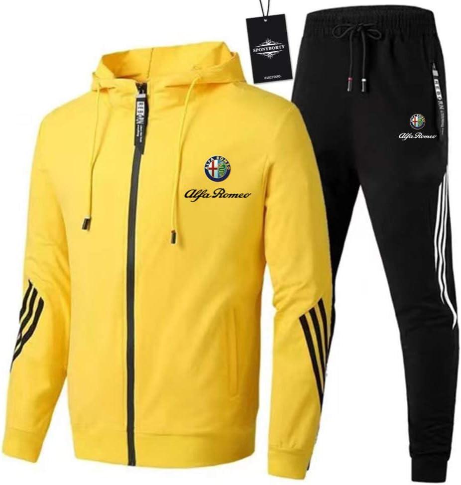 Sportwear Hose X//Gelb // 3XL sponyborty CONVERMPU Zipper Trainingsanzug Set Zweiteilig f/ür Al-Fa Ro-Meo Geeignete Herren und Damen Streifen Kapuzen Jacke