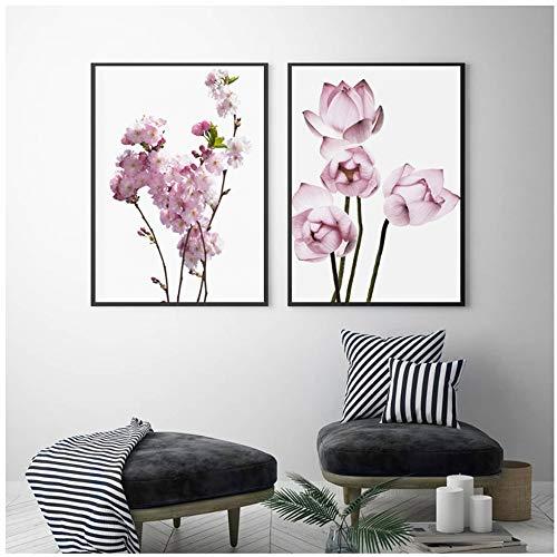Canvas schilderij bloesem peer lotus nordic poster roze muur kunst posters en prints muur foto's voor woonkamer decor 20x30 cm / 7.8