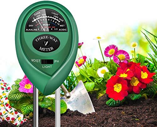 Fallcon Medidor Humedad Plantas,Sensor Tierra 3 en 1 Medidor de PH Medidor de Luz/Humedad/Ácido para Planta/Jardín/Granjas Moisture Meter Suelo para Exterior y Interior.