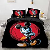 N、A Kids Mickey Mouse Bedding Sets Queen Size 3 Pieces Black Mickey Mouse Duvet Cover Bed Set 3D Cartoon Mickey Minnie Mouse Comforter Set