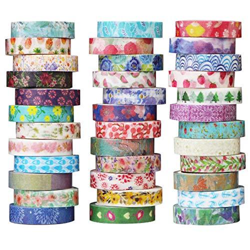 UOOOM 36 Rollen Washi Tape Set - Masking Tape deko Klebeband buntes - Kreative Design Bunte Muster Papierband - Klebebänder DIY Scrapbook (Design 9065)