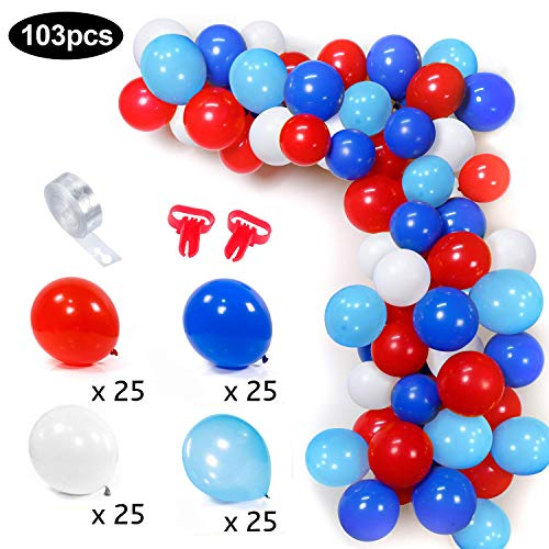 MMTX Luftballons Blau Weiss Rot Blau Hellblau Girlande Kit 100 Luftballons Bogen Set mit 16ft Luftballon Streifen Klebeband Kit 2 Stück Werkzeug für Geburtstag Superhelden Motto Party Decor