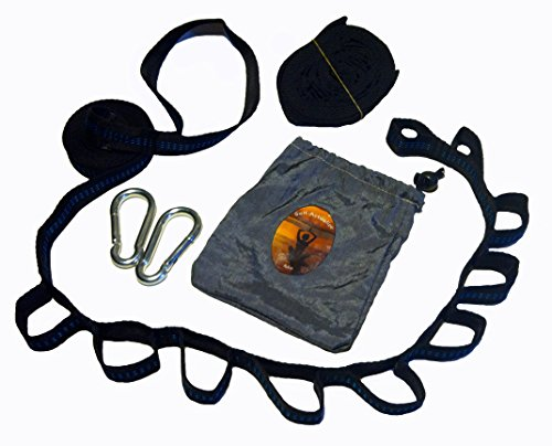 Self-Actualize Me Hammock Strap Carabiner Complete Kit 2 Black Daisy-Chain Non-Stretch Polyester Tack Stitched Webbing Straps, 2 Steel Spring Loaded Carabiner 1 Nylon Bag - Easy Adjust Safe