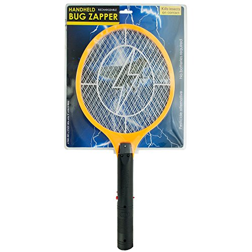 Unique Imports Electric Rechargeable Bug Zapper Fly Killer Swatter Racket Zap Mosquito Best for Indoor and Outdoor Pest Control LED Dark Safety mesh