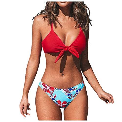 Bilbull Traje de baño para mujer, bikini sólido, cintura alta, slim, dos piezas, traje de baño sexy y de color con cuerda dividida, traje de baño de dos piezas rojo M