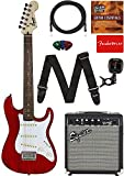 Fender Squier Short Scale (24') Stratocaster Learn-to-Play Bundle with Frontman 10G Amp, Cable, Tuner, Strap, Picks, Fender Play Online Lessons, and Austin Bazaar Instructional DVD - Transparent Red