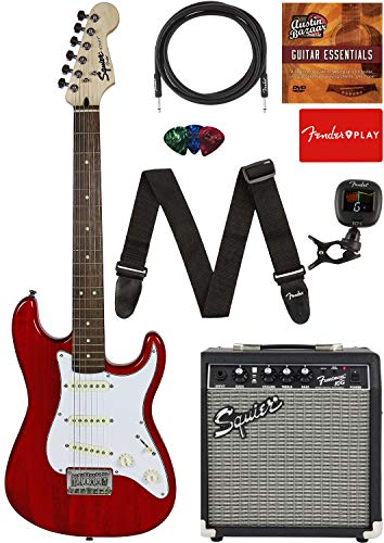 Fender Squier Short Scale (24') Stratocaster - Transparent Red Learn-to-Play Bundle with Frontman 10G Amp, Cable, Tuner, Strap, Picks, Fender Play Online Lessons, and Austin Bazaar Instructional DVD