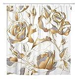 N\A Duschvorhang Rosa Weiß Marmor Muster Grau Schwarz Stein Hell Granit Home Badezimmer Dekor Polyester Stoff Wasserdicht Set Mit Haken