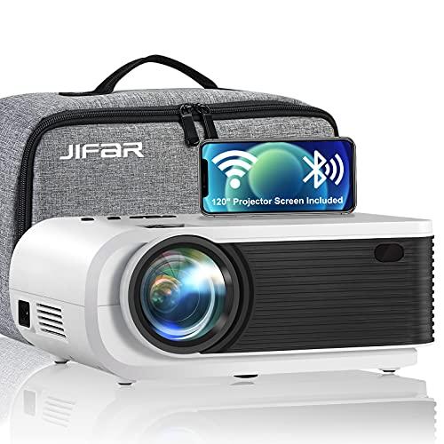 Proyector WiFi, Mini proyector JIFAR 6500L con pantalla de 120 '', Compatible con Full HD 1080P y 240 ', Sincronizar la pantalla del...