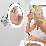 Espejo cosmético con iluminación, espejo cosmético con luz 30 LED, 5 aumentos, espejo cosmético de pared, soporte con ventosa, rotación de 360°, antirreflejos para viajes en casa (5 unidades)
