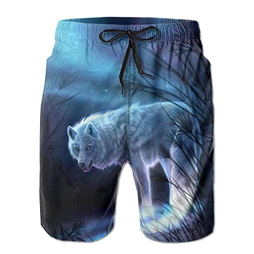GOSMAO Swim Trunks Comfortable Mens Sand Summer Surfer Water Dry Home Swimming Drawstring Fairy Wolf Board Shorts Pockets Jams