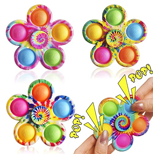Pop Fidget Spinner Toy 4 Pack, Tie-Dye Simple Fidget Popper for Kids, Push Fidget Pop Toy for Party Favors, Popping Bubble Fidget Toy for Stress Relief, Hand Spinner Sensory Toys for Kids Adult